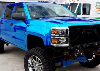 La Wraps Jims Autoland Blue Chrome Silverado Truck Wrap 1