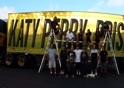 La Wraps Katy Perry Prism Golden Gold Semi Truck Wrap Team 3